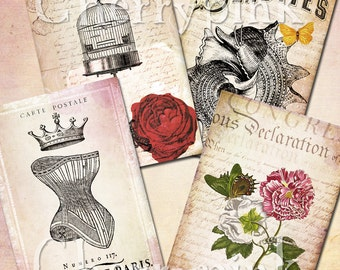 VINTAGE COLLAGE craft supplies, digital download printable, featuring birdcage and corset illustrations