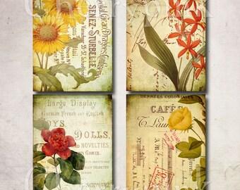 BOTANICAL print set sheet, floral print, collage sheet, floral scrapbook card digital download
