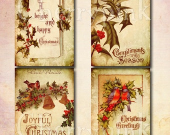 Christmas Tags, Vintage style, Digital Collage Sheet,  ACEO whimsical ephemeral antique paper postcard hang tags scrapbooking.