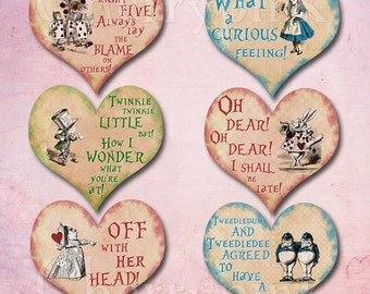 Alice in wonderland quote - heart - clip art - printable - party decoration  - Wonderland theme - lewis carroll - Instant download