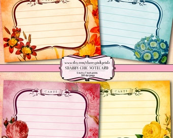 Flower Notecard Digital collage sheet, perfect for cards, tags, scrapbooking and digital art.