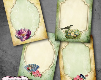 Digital collage sheet ROMANTIC ELEGANCE,  Printable images for gift tags, Shabby chic labels and decoupage