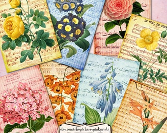 COLORFUL FLORAL Digital collage sheet,  3.5 x 5 inch collages, Vintage shabby chic style for transfers, cards, tags.