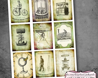 Digital collage sheet STEAMPUNK digital scrapbook supplies, digital download printable
