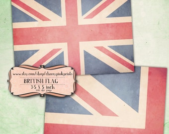 BRITISH FLAG Digital collage sheet, ACEO, atc, Jubilee celebration, vintage clip art, perfect for tags, notecards and digital scrapbooking.