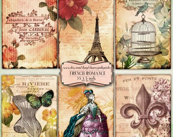 FRENCH EPHEMERA scrapbooking paper supply, printable collage sheet, jpg premade page, digital download for scrapbooking and craft