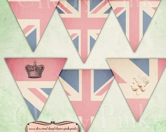 BRITISH BUNTING digital printable bunting download for scrapbooking, party printables and graphic design.