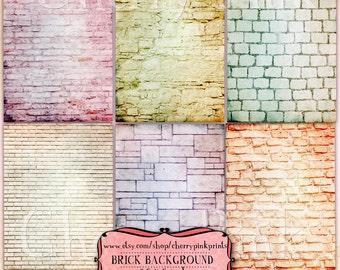 Brick background, digital collage sheet, scrapbook collage supply, brick printable image, brick clip art, instant download
