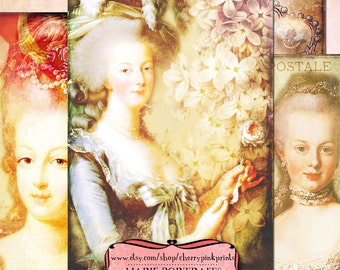 MARIE ANTOINETTE Digital collage sheet french ephemera for notecards, tags an scrapbooking