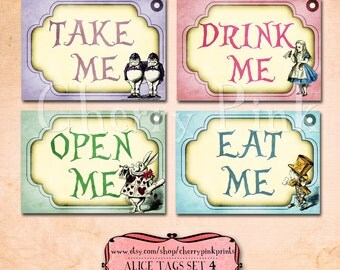 Alice Party Tags, Set 4 Alice in Wonderland Tags, labels, perfect for parties, presents and invitations.