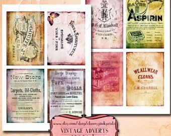 Tattered vintage advert collage sheet, printable jpg file, background image digital download