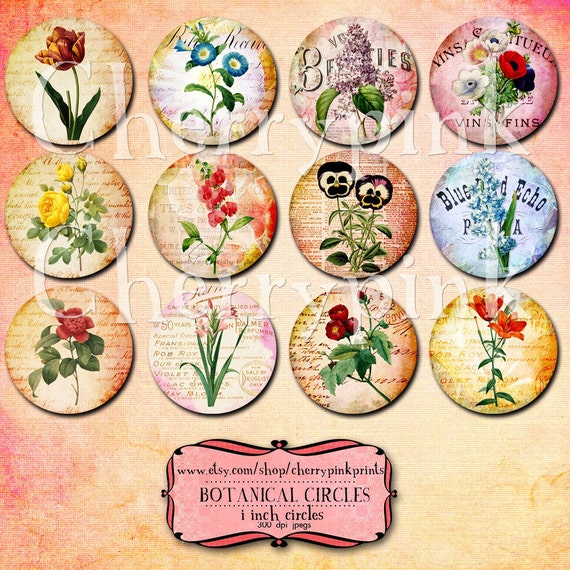 1 inch circle digital downloads, Flower digital collage sheet,  for pendants, magnets, scrapping, craft supply.