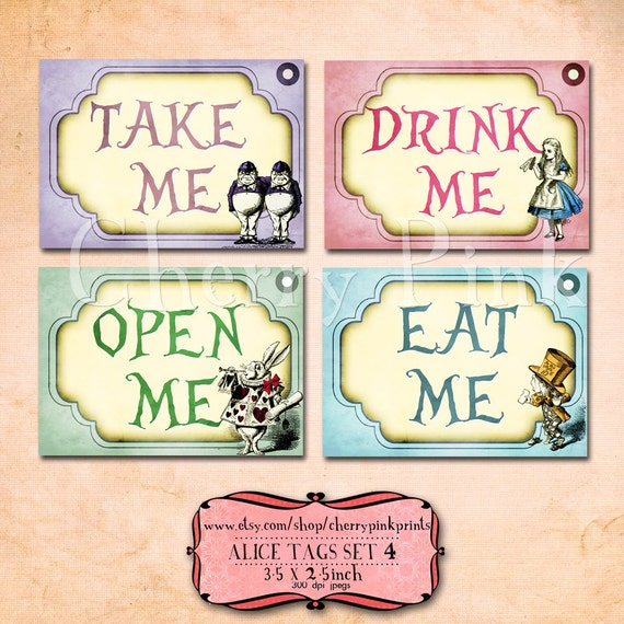 Alice in wonderland tags party decorations perfect labels alice in wonderland tags party decorations perfect labels and craft supply pronofoot35fo Images