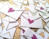 Love Letter CONFETTI - for weddings, parties, bridal showers, gift for loved one, scrapbooking, 25 tiny envelopes