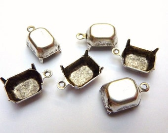 6 prong settings, 10x8mm, octagon, antique silver