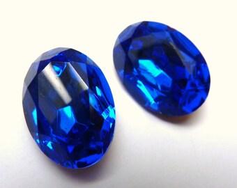 2 glass jewels, 18x13mm, sapphire, oval