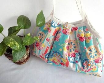 Japanese Kimono Pattern Granny bag purse flowers light blue