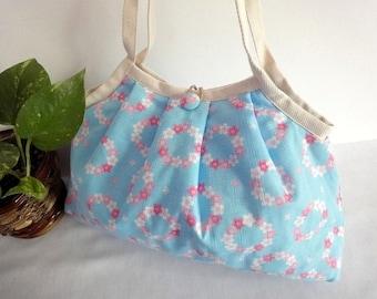 Japanese Kimono Pattern Granny bag purse floral wreath light blue