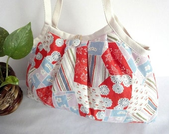 Japanese Kimono Pattern Granny bag purse flowers red blue white