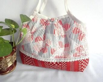 Japanese Kimono Pattern Granny bag purse plum blossom white orange