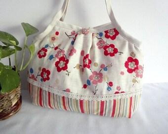 Japanese Kimono Pattern Granny bag purse plum blossom white red