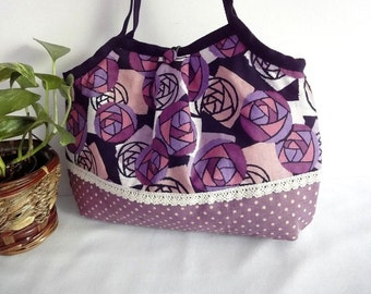 Japanese Kimono Pattern Granny bag purse purple roses dots