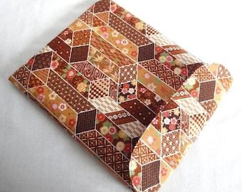 Gift For Her Kindle Fire HD 8.9 case, iPad Mini cover, Google Nexus sleeve Flap Closure Kimono Cotton Fabric flowers brown