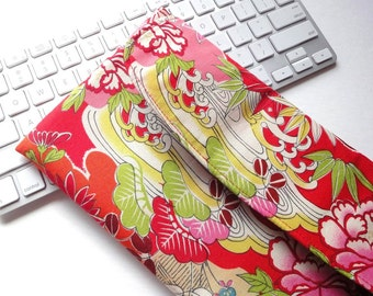 Apple Wireless Keyboard Sleeve Japanese wirelss keyboard Cover Kimono pattern fabric pine, bamboo and plum red