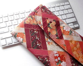 Apple Wireless Keyboard Sleeve Case Cover Padded Flap Closure Kimono pattern fabric flowers red