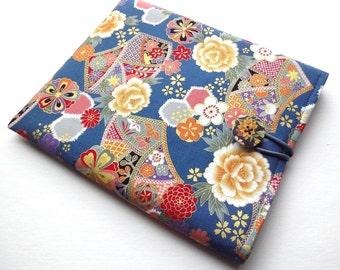 ipad mini cover / Kobo mini case / Kindle Paperwhite sleeve Kimono cotton fabric chrysanthemum peony teal blue