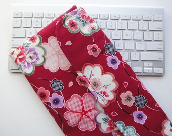 Apple Wireless Keyboard Sleeve Case Cover Padded Flap Closure Kimono cotton fabric cherry blossoms red
