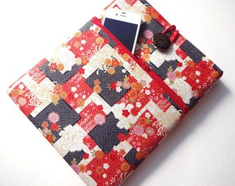 iPad 2 Cover - iPad 3 Sleeve - iPad 1 Case - Zippered Pocket Padded Tablet case - Kimono pattern fabric cherry blossoms chrysanthemum red