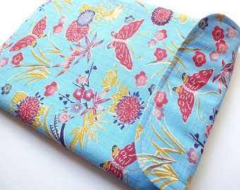 SALE ipad case, iPad 3 Sleeve, iPad Cover, Padded Tablet case Flap Closure Japanese Kimono cotton fabric butterfly pale blue