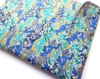 "Kindle 6"" e-ink display, Kobo Aura HD, iPad Mini sleeve - Kimono cotton fabric cherry blossoms teal blue"
