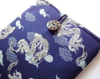 iPad Case  - iPad Sleeve - iPad Cover - Padded Tablet case - Kimono cotton fabric dragons navy