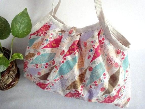 Japanese Kimono Pattern Granny bag purse brown light blue red