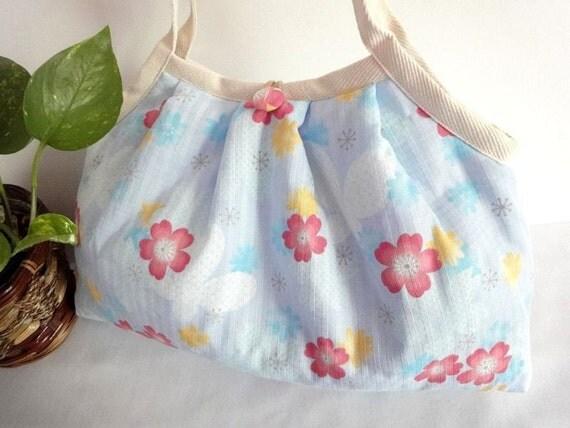 FREE SHIPPING Japanese Kimono Pattern Granny bag purse cherry blossom butterfly pale blue