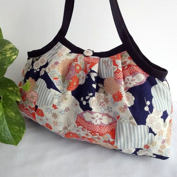 Japanese Kimono Pattern Granny bag purse colorful flowers black