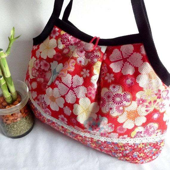 Cute Japanese Shoulder Bag Kimono Cotton Purse Granny bag purse flowers cherry blossoms red