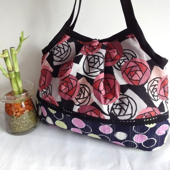 Roses Pattern Fabric Purse  Kimono Granny Bag Japanese Cotton Fabric Great Gift For Her