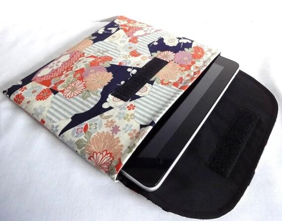 iPad Sleeve - iPad Case - iPad Cover - Padded Tablet case - Flap Closure Kimono pattern fabric chrysanthemum black
