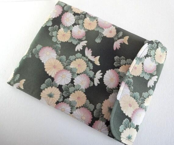 Gift For Her Kimono iPad Sleeve Padded iPad Case Retro iPad Cover Flap Closure - Kimono Cotton Fabric Chrysanthemum green