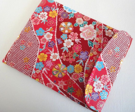 Pretty iPad Sleeve - Handmade iPad Case - Kimono iPad Cover - Flap Closure - Kimono pattern fabric chrysanthemum cherry blossoms flowers red
