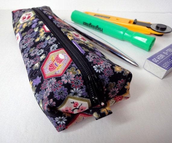 pen case pencil cases zipper pouch flat pen case Japanese Kimono cotton fabric flowers taiko black