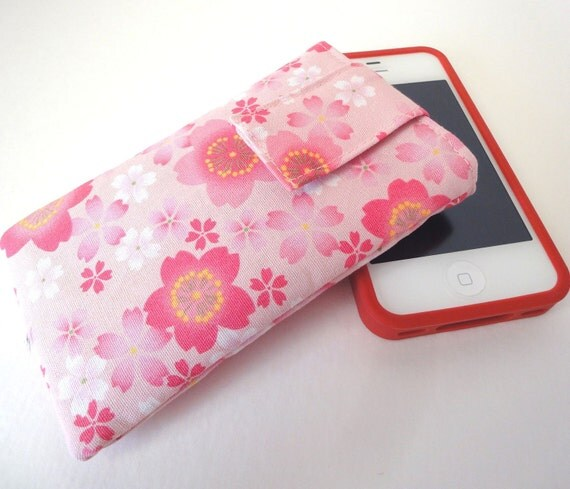 SALE iphone case - iphone cover - ipod touch case - fabric cover case sleeve Japanese Kimono cotton fabric cherry blossom pink