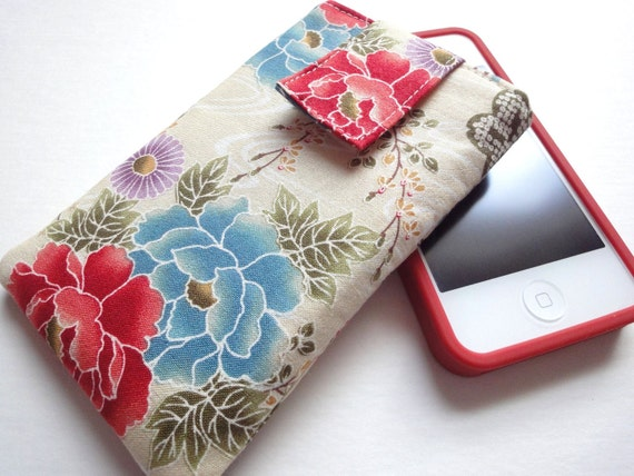 iphone case - iphone cover - ipod touch case - fabric cover case sleeve Japanese Kimono cotton fabric peony cream