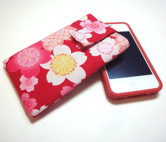 SALE iphone case - iphone cover - ipod touch case - fabric cover case sleeve Japanese Kimono cotton fabric cherry blossoms red