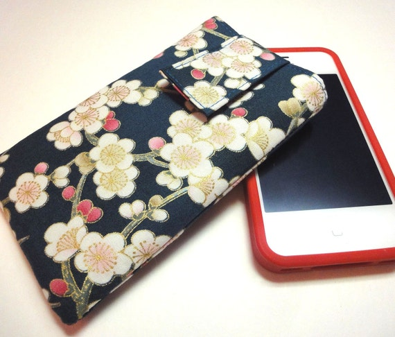 iphone case - iphone cover - ipod touch case - fabric cover case sleeve Japanese Kimono cotton fabric plum blossoms teal green