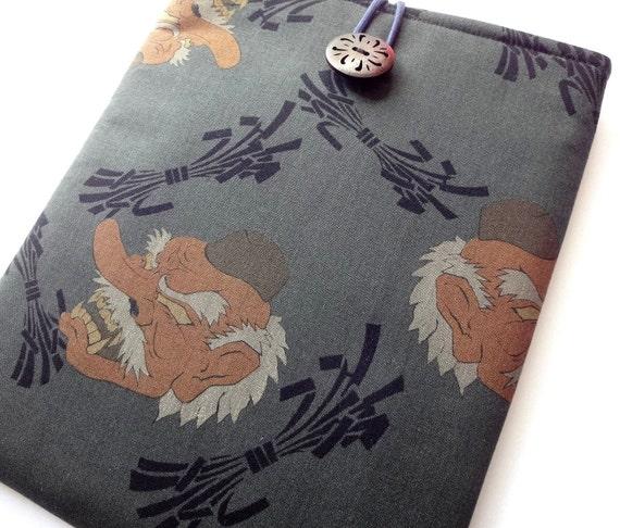 LAST ONE iPad Case iPad Sleeve iPad Cover Padded Tablet case - Kimono cotton fabric Tengu smokey green