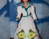 Mermaid Barbie Doll Wearing a Crocheted Mermaid Dress and Outfit